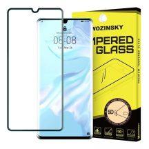 Huawei P30 Pro edzett üveg FEKETE TELJES KÉPERNYŐS FULL SCREEN HAJLÍTOTT tempered glass kijelzőfólia kijelzővédő védőfólia karcálló kijelzős