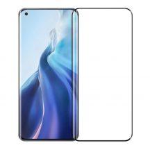 Xiaomi Mi 11 Lite 4G/5G edzett üveg 5D FEKETE TELJES KÉPERNYŐS FULL SCREEN HAJLÍTOTT tempered glass kijelzőfólia kijelzővédő védőfólia karcálló kijelzős
