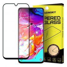 Samsung Galaxy A70 karcálló edzett üveg TELJES KÉPERNYŐS FEKETE Tempered Glass kijelzőfólia kijelzővédő fólia kijelző védőfólia eddzett SM-A705F