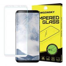 Samsung Galaxy S8 edzett üveg FEHÉR TELJES KÉPERNYŐS FULL SCREEN HAJLÍTOTT tempered glass kijelzőfólia kijelzővédő védőfólia karcálló kijelzős
