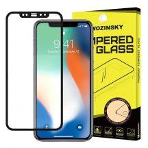 Apple iPhone X XS edzett üveg FEKETE TELJES KÉPERNYŐS FULL SCREEN HAJLÍTOTT tempered glass kijelzőfólia kijelzővédő védőfólia karcálló kijelzős