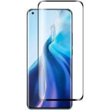 Xiaomi Mi 11 5G edzett üveg 5D FEKETE TELJES KÉPERNYŐS FULL SCREEN HAJLÍTOTT tempered glass kijelzőfólia kijelzővédő védőfólia karcálló kijelzős
