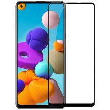 Samsung Galaxy A21s karcálló edzett üveg TELJES KÉPERNYŐS FEKETE Tempered Glass kijelzőfólia kijelzővédő fólia kijelző védőfólia eddzett SM-A217