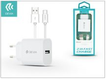 Devia Smart USB hálózati töltő adapter + USB Type-C kábel 1 m-es vezetékkel - Devia Smart USB Fast Charge for Type-C 2.0 - 5V/2,1A - white