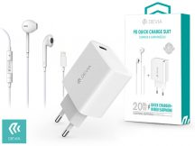 Devia hálózati töltő adapter Type-C bemenettel + Lightning headset - 20W - Devia Smart Series PD3.0 Quick Charger Suit + Earphone - white
